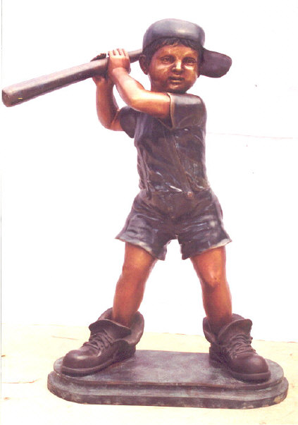 Boy Playing Baseball In Big Shoes Bronze Statue